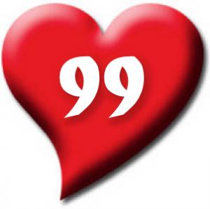 99 heart white